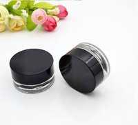 Wholesale cosmetic logos online - glass stash jar container g ml custom logo clear wax dab container mini small cosmetic jar with black lid