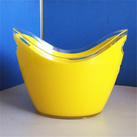 Wholesale hot tongs for sale - Group buy Bardian Gold Ingot Shaped Ice Bucket Double Deck Plastic Red Wine Barrel Carry Convenient Bar Necessary Champagne Buckets Hot Sale hy2 Y