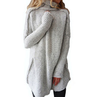 flauschiger pullover pullover großhandel-2017 neue Herbst Winter flauschige Pullover Frauen Rollkragen Dame Ärmel Jersey warme Pullover weibliche Strickmantel halbherzig