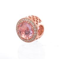 розовое розовое очарование для браслетов оптовых-Сияющие сердца подвески розовое золото розовый хрустальные бусины S925 серебро подходит для pandora стиль браслет бесплатная доставка H8ale H8