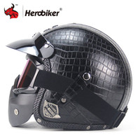 Wholesale leather motorcycle helmet xl - New Retro Vintage Motorcycle Helmet Synthetic Leather 3 4 Open Face Helmet Cafe Racer Cruiser Chopper Casco Moto DOT