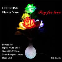 ingrosso luci di natale dell'adattatore di ca-LED Rose Flower Vase Lamp Dream table Lampade da tavolo Girlfriend Christmas Gift Holiday illuminazione USB Plug AC Power Adapter Cavo USB Linea filo