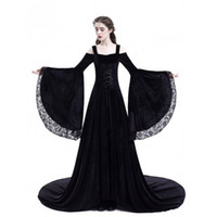 reina medieval trajes de mujer al por mayor-Nuevos trajes medievales para mujer vestido de princesa 2018 tallas grandes adultos Gothic Queen Lace fiesta de lujo disfraz de Halloween Renacimiento