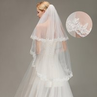 Wholesale fingertip veils resale online - Lace Appliqued Two Layers Fingertip Length Bridal Veils With Comb White Ivory Bridal Accessories CPA1438