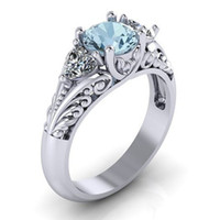 Wholesale high end fashion jewelry - Aquamarine Heart-shaped Crystal Platinum Ring Lover Engagement Ring High-end Fashion Temperament European American Women Gift Jewelry 7 Size