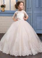yürümeye başlayan dantel kollu elbise toptan satış-2018 Allık Pembe Toddler Çiçek Kız Elbise Yarım Kollu Jewel Boyun Dantel Aplike Prenses Pageant Törenlerinde Çocuklar Balo Elbise Özel