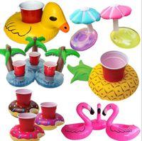 Wholesale holder 17 - 17 design Inflatable Drink Cup Holder Unicorn Flamingo animal duck doughnut Summer Party Supplier Pool Toy LJJK1005