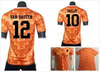 jerseys europeos de fútbol al por mayor-1988 Copa de Europa Classic Vintage Holanda Home Soccer Jersey 12 VAN BASTEN 10 Gullit 8 Bergkamp Seedorf Holland Football Shirt