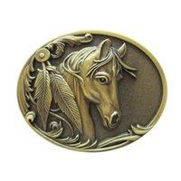 New Vintage Bronze Plated Rodeo Horse Head Western Oval Belt Buckle Gurtelschnalle Boucle de ceinture