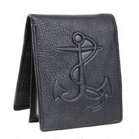 подарочные пакеты слот для карт оптовых-Uneedk Мужской тисненый кожаный якорный кошелек с 6 слотами для карт и подарочной сумкой