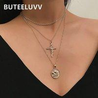 gold elegantes kreuz großhandel-BUTEELUVV Vintage Rose Kreuz Anhänger Halskette Modeschmuck Elegante Gold Silber Farbe Dreischichtige Halskette für Frauen