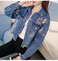 Wholesale Floral Jean Jacket - New Arrival Floral Embroidery Bomber Jean Jacket Long Sleeve Short Denim Jacket For Women Irregular Burr Fringe Hem Casaco Feminino