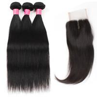 средние перуанские прямые волосы оптовых-Оптовые хорошие дешевые 8A норки бразильский перуанский малазийский девственные прямые волосы 3 пучка с 4 * 4 кружева закрытия бесплатно / средний / три части