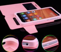 evrensel mobil kapaklı kapaklar toptan satış-Evrensel Flip Case Pencere PU Deri Cüzdan Kılıf KAPAK Aşağı yukarı Çekin 4.0 4.8 5 5.5 tüm cep telefonu için 6 inç