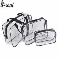 Wholesale ladies pillow handbag online - 3Pcs Cosmetic Bag Set Fashion Transparent Beauty Bag Waterproof Handbags Wash Bags Ladies Make Up Storage Bag SC0328
