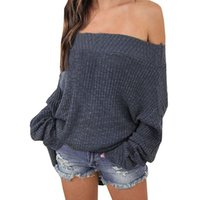 Wholesale plus size off shoulder sweater - Winter Loose Knitted Sweater Women Sexy Off Shoulder Pullover Sweater Loose Tops Knitwear Pull Femme Jumper Plus Size WS2349T