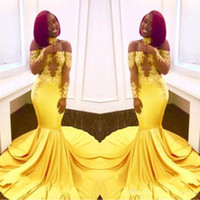 Wholesale new elastic shirt for sale - Group buy New Elegant Yellow Off the Shoulder Lace Prom Dresses Formal Long Sleeves Mermaid Appliques Satin Arabic Evening Gowns BA7903