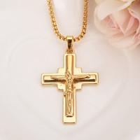 ingrosso catena di bead jesus-Grande croce crocifisso Gesù pezzo ciondolo collana perline catena color oro rame uomini catena gioielli cristiani regali vintage