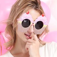 kek kek toptan satış-Sevimli Kek Fincan Şekli Gözlük Masquerade Ball Prop Yaratıcı Komik Gözlük Düğün Parti Süslemeleri Sıcak Satış 9sfa C
