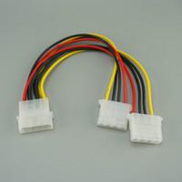 cable de alimentación pin molex al por mayor-20cm 4 Pin Molex Macho a 2 puertos Molex IDE Hembra Fuente de alimentación Y Splitter Cable adaptador para PC, ventilador de refrigeración, CD Controlador Disco duro 100pcs / lot