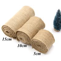 yd stoff großhandel-Pack von 3 Sackleinen Fabric Craft Ribbon auf Spule, 10 yd.