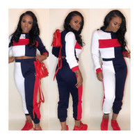 Wholesale Women S Track Suits - Woman Two Piece Casual Tracksuit Sport Track Joggers Suit Sweatsuit Long Sleeved Crop Tops Sweatshirt and Sweatpants Tracksuit