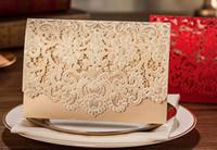 convite de marfim venda por atacado-Cartão de convite de casamento Design da capa de ouro, tampa de corte a Laser, festa de casamento convite cw072