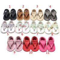 Wholesale dot flip flop - 11 Color baby ins Soft bottom sandals 2018 New Summer kids flip flops PU Infant open toe Sandals baby First Walkers shoes B001