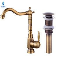 Wholesale Pop Up Drains - ULGKSD Antique Brass Kitchen Sink Faucet Set Pop Up Drain Kitchen Faucet 360 Rotation Deck Mount Hot and Cold Water Mixer Taps