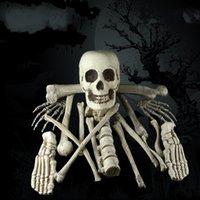 plastik iskelet kafatası toptan satış-Çıkarılabilir Cadılar Bayramı Korkunç Kafatası Perili Parti Sahne Sahne Dekor Kırık Kemik Plastik Yaratıcı Simülasyon İskelet Prop Popüler 49 ml jj