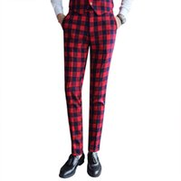 Wholesale vintage mens plaid pants - Vintage Men's Plaid Pants Casual Men Classic Pants Check Suit Trousers White Red British Style Mens Dress Pants Korean Slim Fit