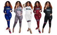 Wholesale yoga pants patterns online - Womens Tracksuit Set Bee pattern Lady Long Sleeve Sweatshirt Tops Pants Suit Casual piece Set PINK yeezus sweatsuit Free Delivery