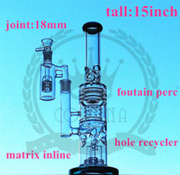 Wholesale Painted Glasses - factory Purple Recycler Glass Mini smoking Pipe Colorful Glass Pipe Not Painted Beaker Bong Bubbler Glass Water Pipes 30cm Tall With 14.4mm