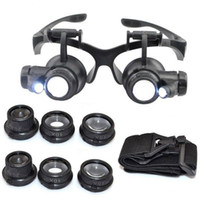Wholesale magnifying led loupe - Hot 10X 15X 20X 25X magnifying Glass Double LED Lights Eye Glasses Lens Magnifier Loupe Jeweler Watch Repair Tools