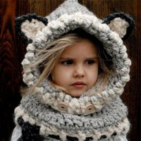 Wholesale Football Beanie Baby - Stylish 2017 Winter Outdoor Black Knitting Wool Cat Soft warm Hats for Baby Girls Shawl Hooded Cowl Beanie Cap for 2-9years kids