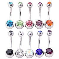 Factory Price Double Barbell Navel Body Piercing Jewelry Shinning Mix Color Crystal Navel Belly Button Ring