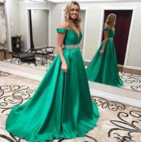 Wholesale Beaded Silk Taffeta Ball Gowns - 2017 Satin Green Off Shoulder Prom Dresses Red Carpet Long Formal Pageant Sexy Ball Gowns Beaded Waist Party Sleeveless Evening Gowns