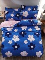 roupa de cama padrão azul venda por atacado-4pcs conjunto de cama Deep Blue Flower Pattern Quilt Set