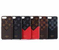 alcatel tek dokunmatik flip durumda toptan satış-Lüks Moda Izgara Deri Telefon Arka Kapak iphone X XS Max XR 8 Kredi Kartı Ile 8 Artı Artı Yumuşak Kılıf iphone 6 6 S Artı Kapak
