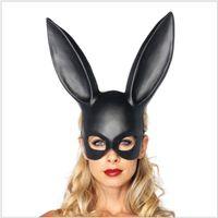 trajes de conejito de las mujeres al por mayor-Mujeres Sexy Conejo Orejas Máscara Lindo Conejito Orejas Largas Máscara Bondage Fiesta de Disfraces de Halloween Mascarada Disfraces de Disfraces