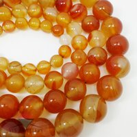 Wholesale Red Carnelian Beads - Natural Stone Beads Orange Red Carnelian Agates Round Bead 4 6 8 10 12MM Diy Bracelet Charm Beads For Jewelry Making Wholesale