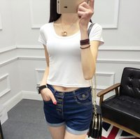 Wholesale pure white tee for sale - Summer Short T shirt Waist Pure Colors Slim T Shirt Female Sexy Yoga Ultra Short Tee