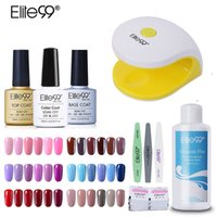Wholesale top light nails - Elite99 Colorful Uv Nail Gel Polish Set Kit Base Gel Top Coat Polish Kit Set Nails Tools And Led Uv Lamp Manicure Kit