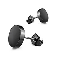 ingrosso orecchino 6mm-Commercio all'ingrosso (476E) titanio acciaio liscio orecchini gioielli per uomo donna 3mm / 4 mm / 5 mm / 6 mm / 7 mm / 8 mm / 10 mm nero / bianco