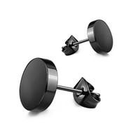 4mm ohrringe großhandel-Großhandel (476E) Titan Stahl glatte Ohrstecker Schmuck für Männer Frauen 3mm / 4mm / 5mm / 6mm / 7mm / 8mm / 10mm schwarz / weiß