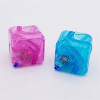 Wholesale fingertip lights - Fidget Cube Decompression Transparent Crystal Flash Of Light Fingertip Plastic Magic Square Spinning Top In Stock 5wt W