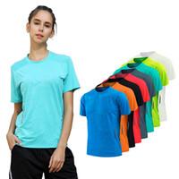 бамбуковые женские рубашки оптовых-Футболка женщины Quick Dry дышащий Спорт топ йога тренажерный зал фитнес одежда спортивная одежда для женщин футболка бег тренировки
