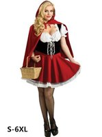 Wholesale women costume sexy xxxl online - alloween costumes halloween costumes for women sexy cosplay little red riding hood fantasy game uniforms fancy dress outfit