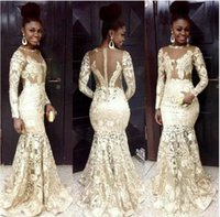 Wholesale ivory special occasion dresses for sale - Fashion Lace Appliques Mermaid Evening Dresses Jewel Long Sleeve Illusion Back With Zipper Special Occasion Dresses Sexy Prom Dresses