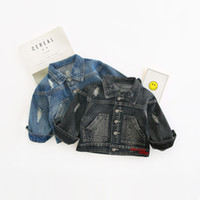 Wholesale cute jackets for spring for sale - Group buy 2018 Autumn New Arrival cotton fashion all match casual long sleeve denim jacket with holes for cool cute baby girls and boys